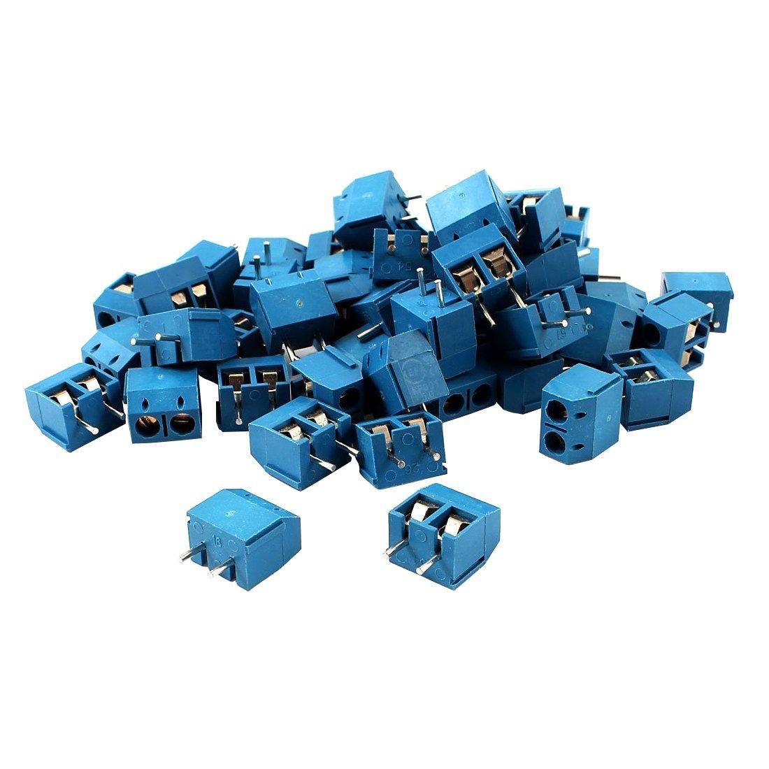 SODIAL 50pcs Borniers a vis de montage bleu de l'Espacement de 5mm de PCB 300 V 16A