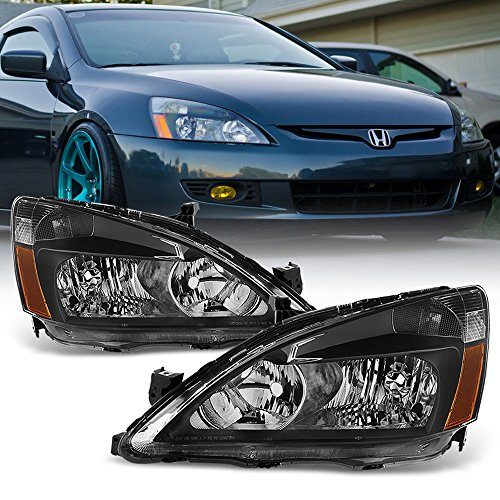 ACANII - For Black 2003-2007 Honda Accord 2Dr 4Dr Crystal Headlights Headlamps Driver + Passenger - Accord Headlights