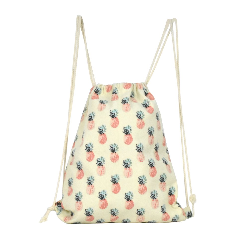 Lacheln Canvas Drawstring Backpack Travel Sackpack Bag Gym Outdoor Sports Portable Daypack for Girl Boys Woman Female,Pink Pineapple