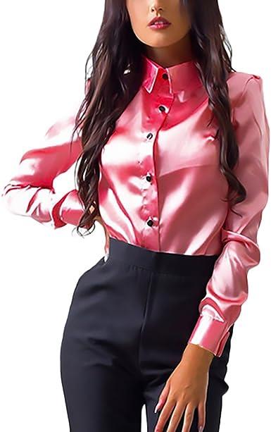 Mujer Camisas Manga Larga Elegantes Seda Oficina Negocios Ejecutiva Basic Ropa Slim Fit Blusa Tops Color Sólido De Solapa con Botones Básica Moda Otoño Invierno Polos Blouse Ropa: Amazon.es: Ropa y accesorios