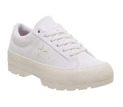 Damen Converse One Star Profilsohle Ox Turnschuhe Weiß Weiß Egret Turnschuhe