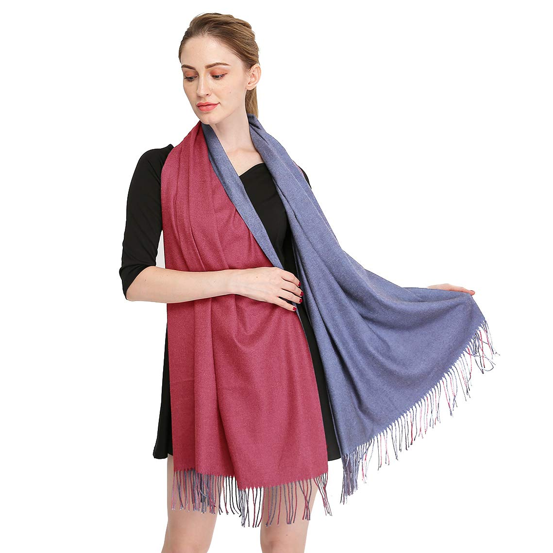 03  Longwu Cashmere Wrap Shawl Stole for Women Winter Extra Large(79  X 28 ) Men Solid Lambswool Pashmina Scarf