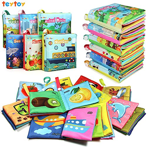 teytoy My First Soft Book, Nontoxic Fabric Baby Cloth Books Early Education Toys Activity Crinkle Cloth Book for Toddler, Infants and Kids Perfect for Baby Shower -Pack of 6 (Best Sound Card 2019)