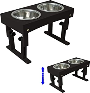 "MEWANG Wooden Adjustable Elevated Dog Bowls - Pet Feeder Raised Stand for Dogs and Cats - Dog Bowls Stand with 2 Stainless Steel Food and Water Bowls - Adjusts to 4 Heights, 2.75"", 8"