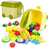 52-Piece Pretend Play Kitchen Toys & Food Set | In Beautiful Storage Container - Includes Kids Toy Dishes, Cutting Play Foods, Play Fruits & Play Vegetables, Mini Toy Stove Top, Play Kitchen Utensils