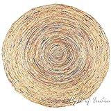 Eyes of India 4 ft Orange Round Colorful Woven Jute Chindi Braided Area Decorative Rag Rug Indian Bohemian