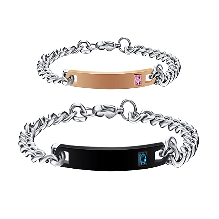 236d030afc Personalized His and Hers Matching Couples Bracelets Set, Women's Men's Titanium  Stainless Steel Engraved Custom Name Plate