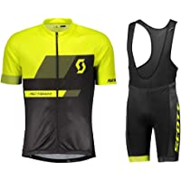 Mens Short Sleeve Cycling Jersey 3D Padded Bib Short Set Quick-Dry Polyester