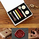 Powstro Stamp Seal Sealing Wax kit, Retro Classic Vintage Seal Wax Stamp Seal Maker Stick Gift Box Set
