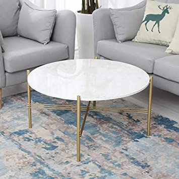 Hcklk Mid Century Modern Round Coffee Table For Living Room