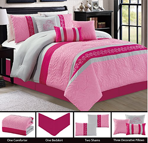 Gray Embroidered Comforter : Modern piece bedding hot pink light grey paisley