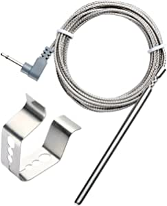 BBQGO Ambient Temperature Barbecue Grilling Oven Thermometer Probe Replacement and Clip for Maverick ET732, ET733 & Ivation IVA-WLTHERM & IVAWT738 with 6ft Stainless Steel Cable (Oven Probe + Clip)