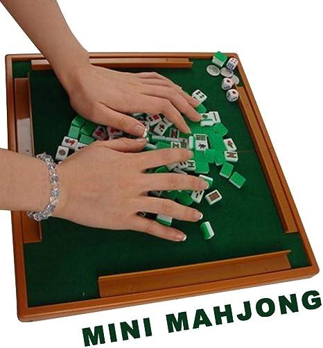 SYXX Mahjong Conjunto chino, al aire libre mini portátil de viaje sólida tallada Guangdong Mahjong, Mesa Con La Regla Mini Hogar Mahjong, tradicional juego de Mahjong Club de Juego: Amazon.es: Bebé