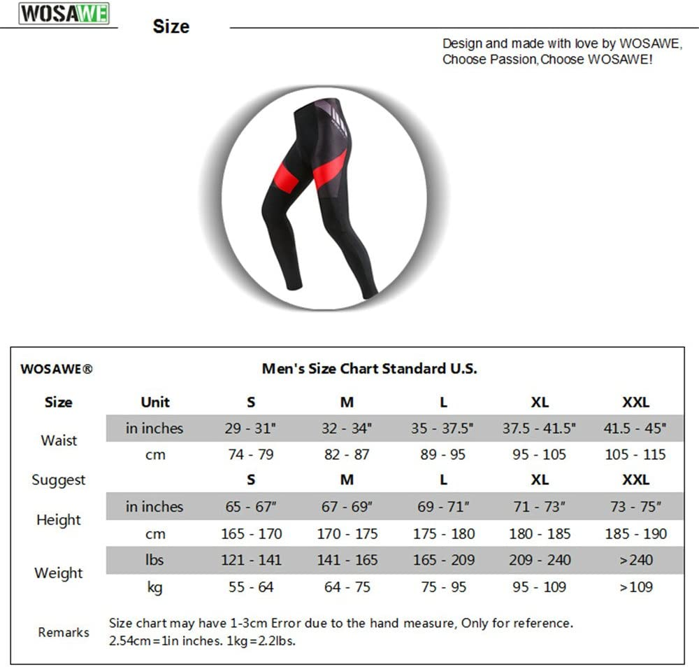 WOSAWE Cycling Trousers Men Women 4D Gel Padded Riding Long Pants Breathable Bicycle Tights