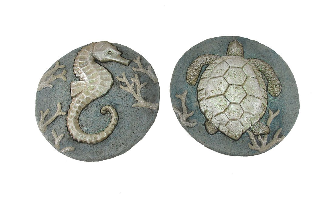 Zeckos Set of 2 Seahorse and Sea Turtle Cement Garden Stepping Stones