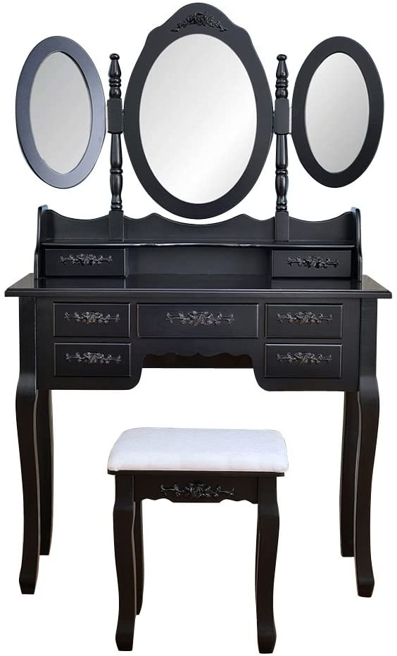 Makeup Vanity with 7 Drawers, Dressing Table withTri-Folding Mirror and Cushioned Stool, Makeup Table Writing Desk with Removable Top, Makeup Vanity Set for Girls Black