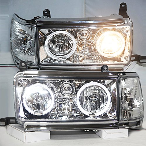 Generic for 1990-1997 year prado FJ80 LC80 FZJ80 4500 LED headlights chrome housing LF