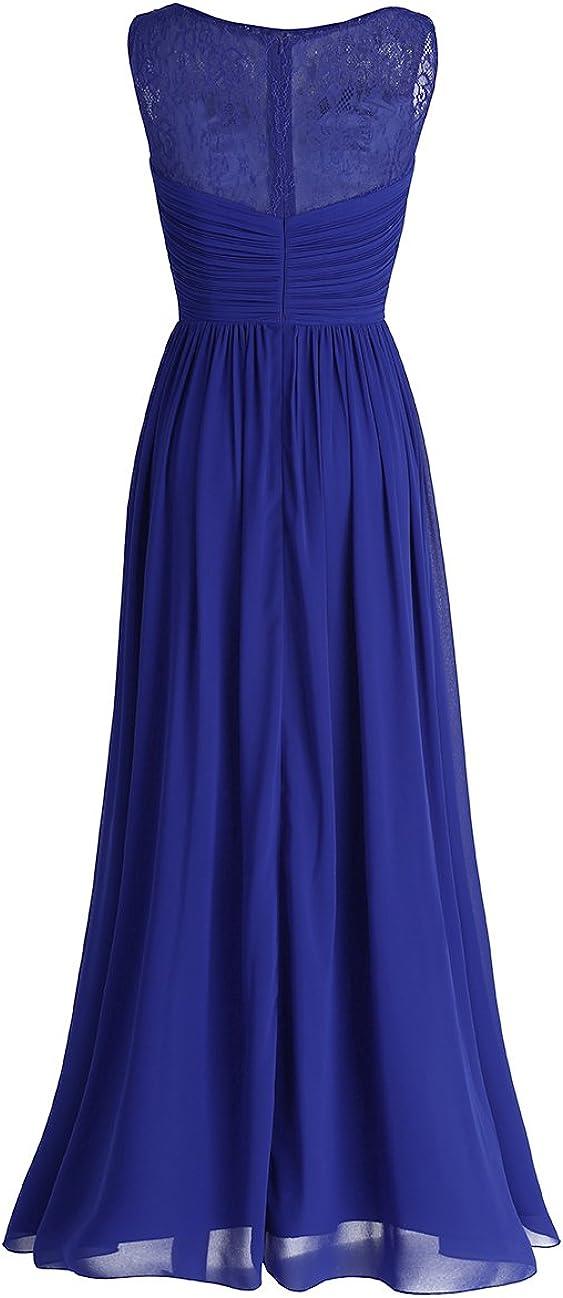 YiZYiF Women Long Chiffon Lace Wedding Bridesmaid Dress Evening Party Maxi Dress Ball Gowns Blue