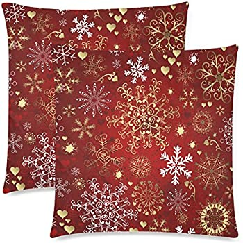 2 pack gold and white snowflake cushion pillow cover 18x18 twin sides christmas gift