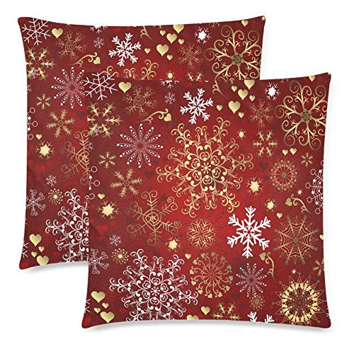 InterestPrint 2 Pack Gold and White Snowflake Cushion Pillow Cover 18x18 Twin Sides, Christmas Gift Red Zippered Cotton Throw Pillow Case Pillowcase Set Decorative for Couch Bed