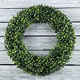 Boxwood Wreath, Artificial Wreath for the Front Door by Pure Garden, Home Décor, UV Resistant - 19.5 Inches