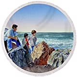 Pixels Round Beach Towel With Tassels featuring ''Boys And The Ocean'' by Irina Sztukowski