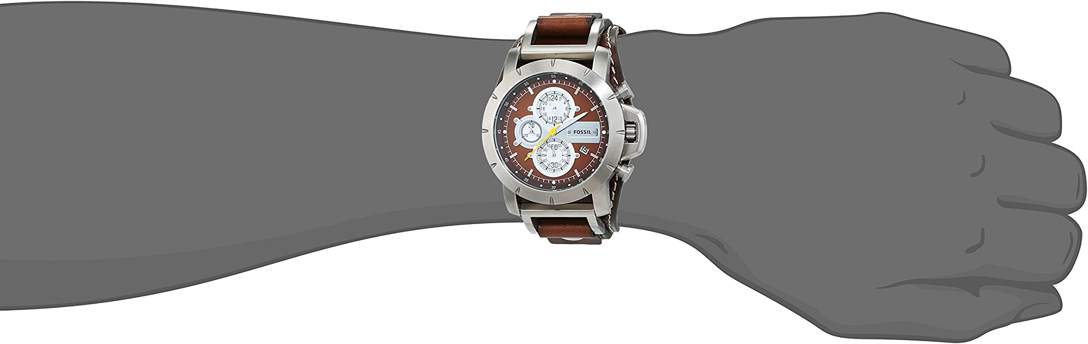 Mens JR1157 Brown Leather Strap Brown Analog Dial Chronograph Watch