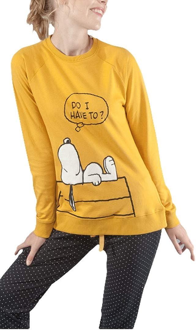 GISELA Pijama de Mujer Snoopy 2/1540 - Mostaza, XL: Amazon.es ...