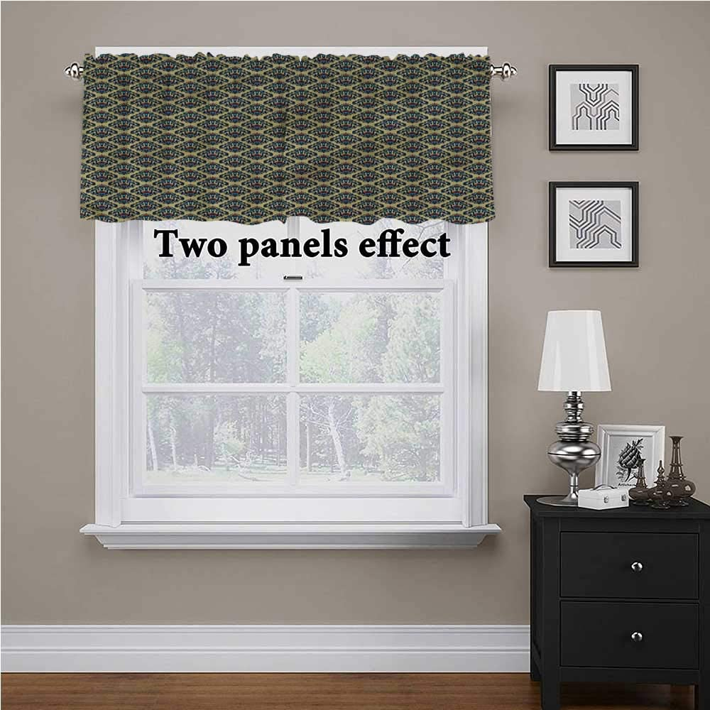 shirlyhome Damask Window Valences Curtains Medieval Classic Motifs for Bathroom/Kitchen Windows, 60 Inch by 18 Inch 1 Panel