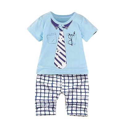 Amlaiworld Conjuntos Ropa Bebe niño Verano Camisas con Estampado de Gafas con Forma de Estrella de bebé niño Tops + Pantalones a Cuadros Conjunto de Trajes: ...