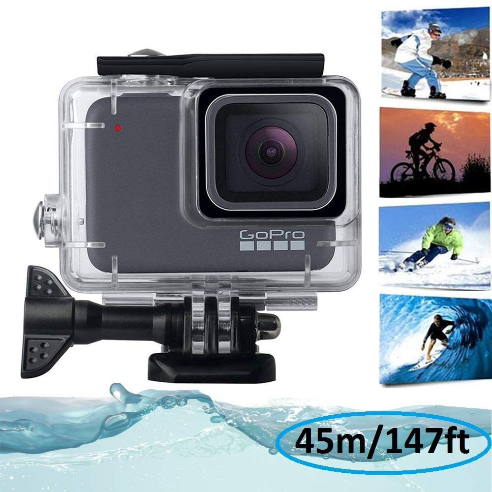 KOBWA 防水ハウジングシェル GoPro Hero7 シルバー/ホワイト 水中ダイビングケース 透明アクリル 保護カバー セッションアクションカメラアクセサリー 147フィート   B07KTYMP7V