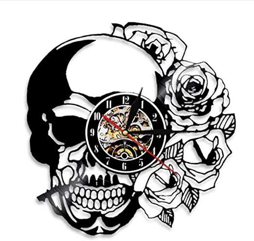 clockfc Tatuaje Calavera con Rosa Arte de Pared Reloj de Pared ...
