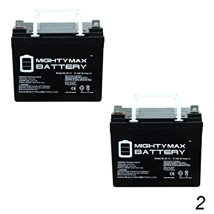 amazon com: mighty max battery ml35-12 - 12v 35ah battery for pride jazzy  select electric wheelchair - 2 pack brand product: home audio & theater