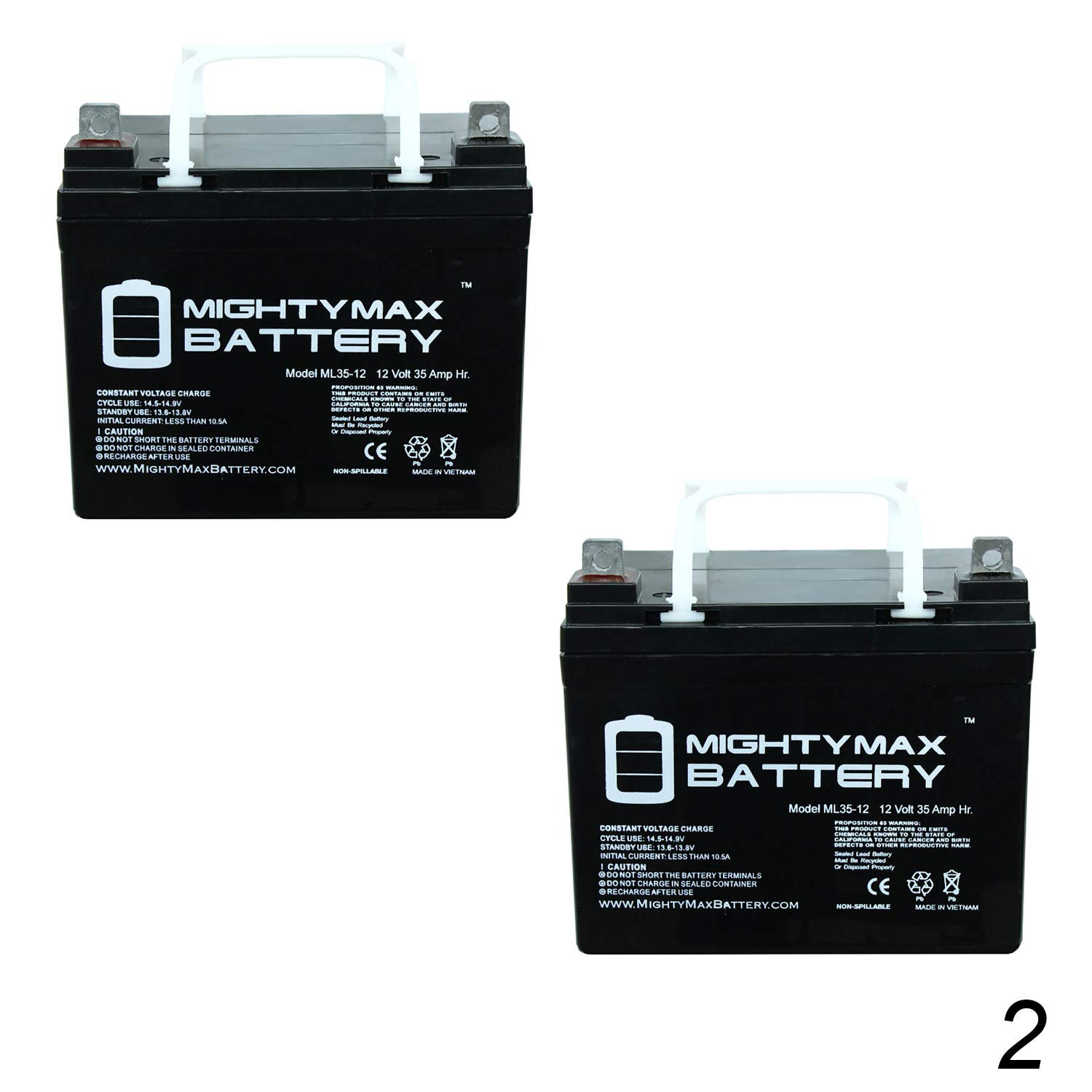 Mighty Max Battery ML35-12 - 12V 35AH U1 One New Wheelchair Battery Deep Cycle 2 Pack Brand Product