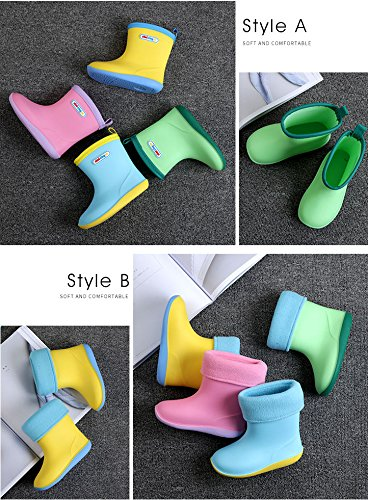 Asgard Cute Rain Boots for Kids Waterproof Candy Color Ankel Rubber Boots, with Warm Cosy Soft Socks B16 by Asgard (Image #7)