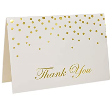 56c5cbaaf0a75 48 Gold Thank You Cards with Envelopes Gold Foil Metallic Dots Bulk Elegant  Classy Sparkle Blank for...