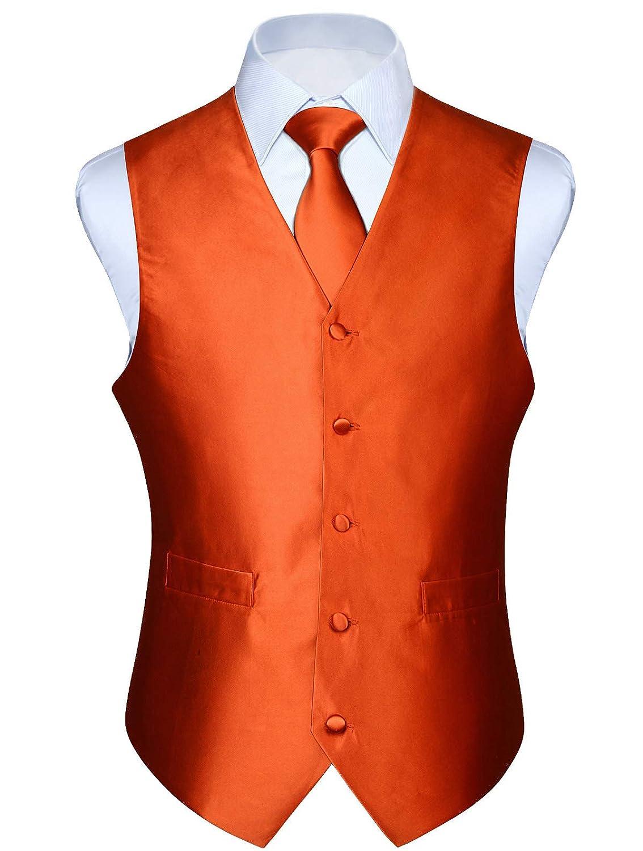 HISDERN Mens Paisley Jacquard Solid Waistcoat /& Necktie and Pocket Square Vest Suit Tuxedo Set