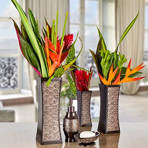 Dublin Decorative Vase Set of 3 in Gift Box, Durable Resin Flower Vase set Decor, Rustic Decorated Dining Table Centerpiece Vases Home Accents for Living Room, Bedroom, Kitchen & More (Brown)