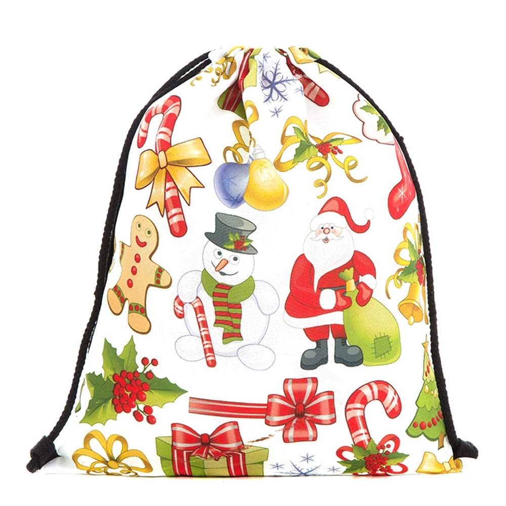 Xeminor Bags Drawstring Bags 3D Printing Backpack Santa Backpack for Party Favors Gifts and Candy by Xeminor (Image #5)