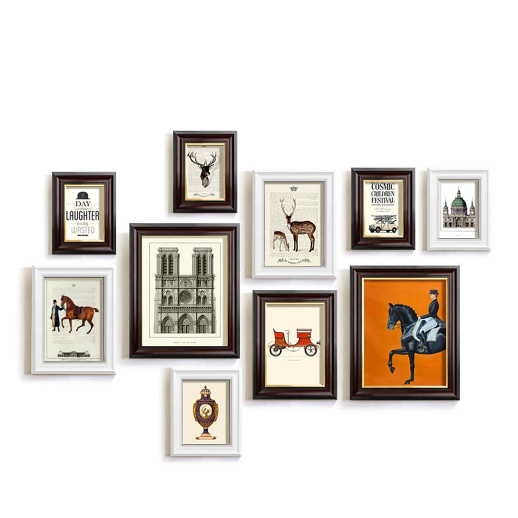 YGH European Retro Photo Frame Combination, Wall Hanging Decorative Painting Wall Hanging Photo Wall, Abstract Living Room Office Dining Room Painting (Color : A) by YGH