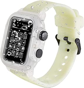 Waterproof Apple Watch Bands Case - 44mm 42mm Waterproof iWatch Series 4 3 Case 2020 New Apple Watch Case Shockproof Full Protection Bumper Case for Men Women (Fluorescent Color, 44mm)