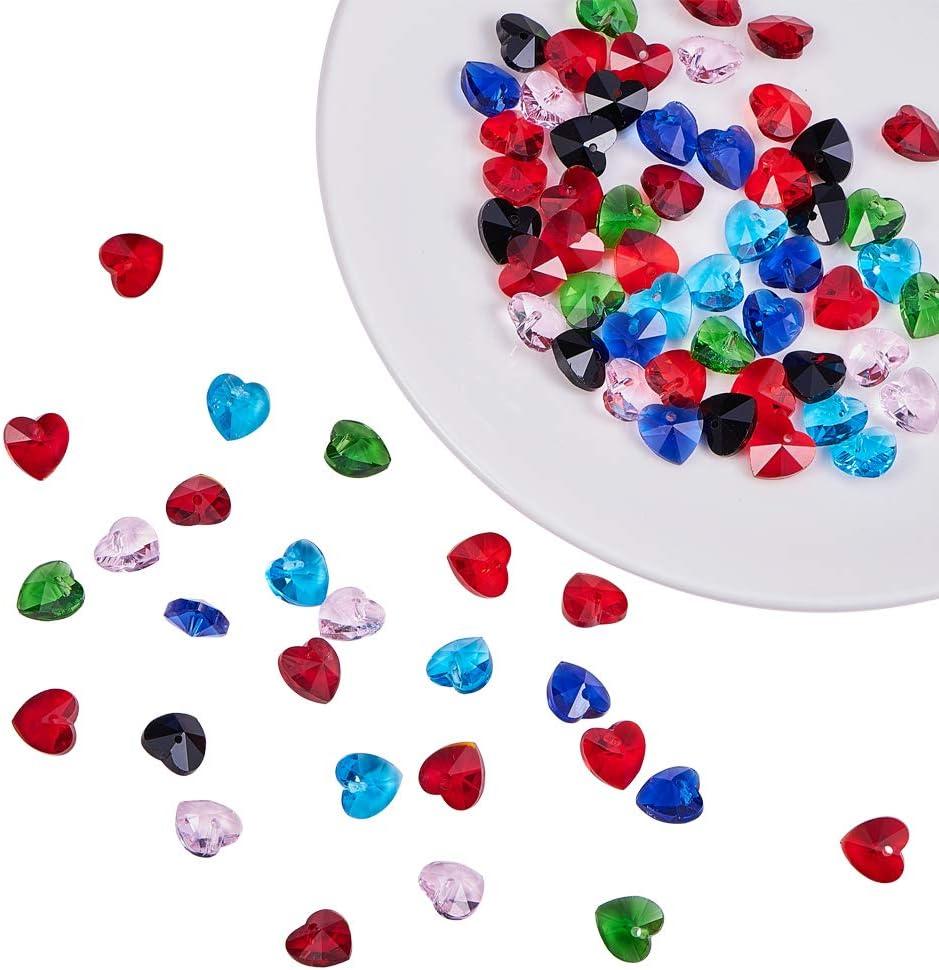 PandaHall Elite 70 Piezas 7 Colores Mezclados corazón facetado Cuentas de Cristal Transparente corazón para Colgante Pulsera, Pendientes, Manualidades, joyería cuelgan para Hacer Resultados