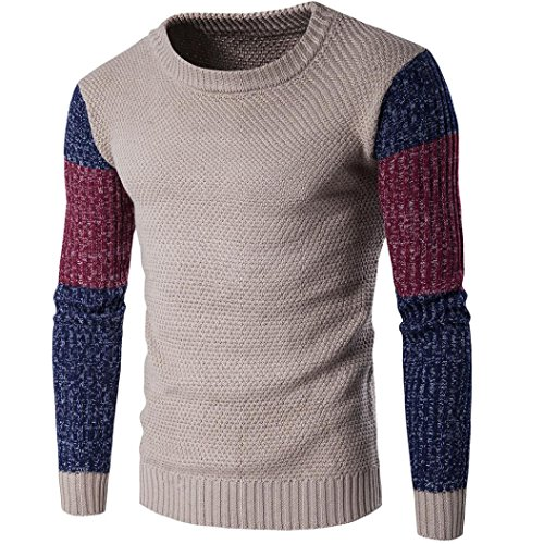Coper Fashion Men's Warm Winter Slim Long Sleeve Knitting Pullover Sweater (L, Khaki) (Mens Floor Length Coat)
