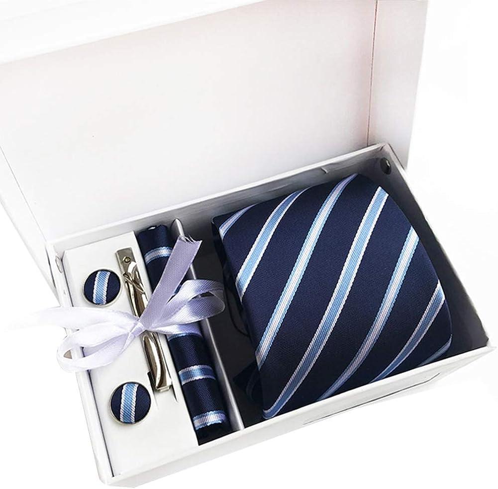 JUNGEN Corbata con pañuelo para Hombre Corbata Estampada de Rayas ...