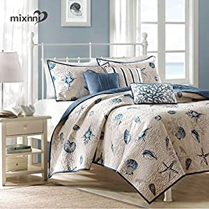 mixinni Seashell Beach Bedding Set King Size Beach Theme Quilt Set With Shams Shell Print Pattern Ocean 100% Cotton Resversible Bedspread/Patchwork quilt