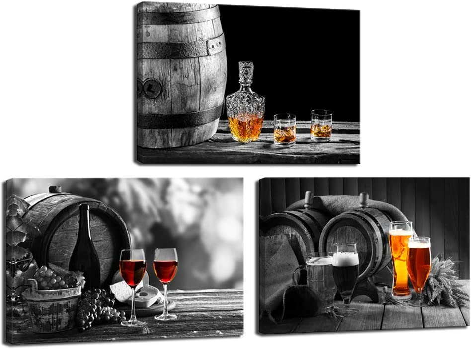 Nachic Wall - 3 Piece Kitchen Wall Art Whisky Beer Wine Pictures Canvas Prints for Dining Room Bar Decoration Still Life Painting Modern Western Wall Decor Framed Ready to Hang