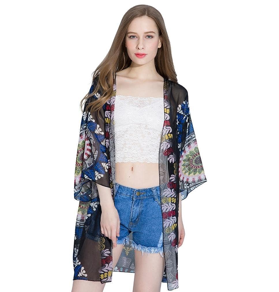❤️Sannysis Pijamas para mujer, lencería kimono corto de satén de estampado floral gasa de mujer Cardigans Blusa Bikini traje de baño Smock Tops chal Ropa ...