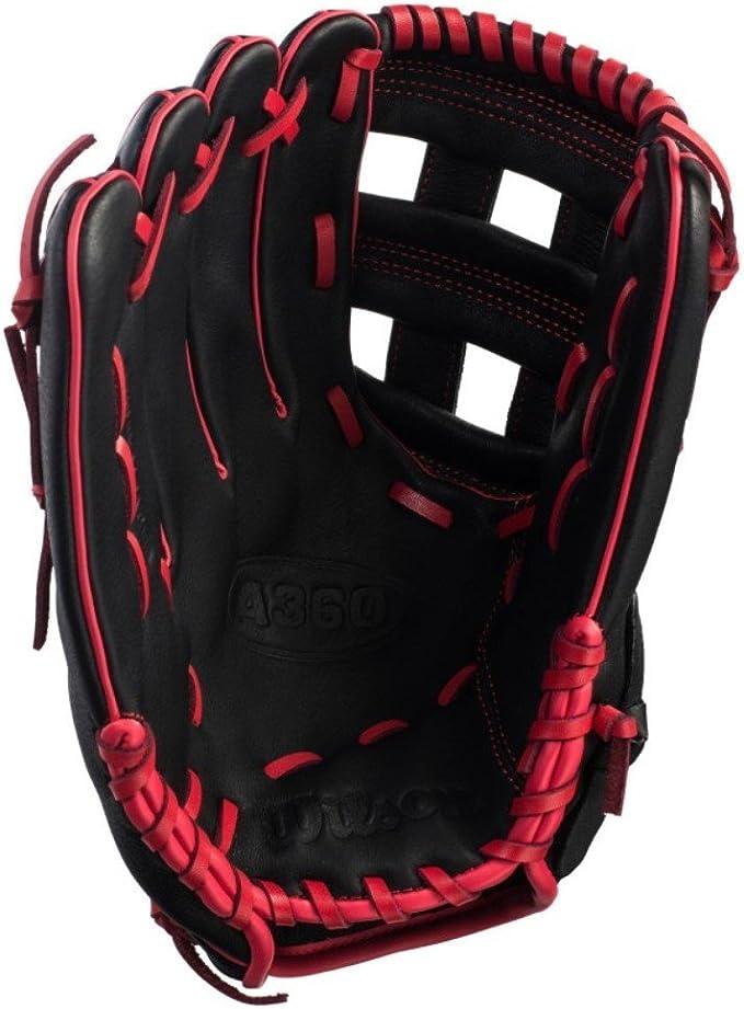 Gant de baseball Wilson A360 30,5 cm pour lanceur /à main droit noir rouge gauche
