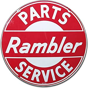 Rambler Parts Service Motor Oil Emblem Seal Vintage Gas Signs Reproduction Car Company Vintage Style Metal Signs Round Metal Tin Aluminum Sign Garage Home Decor With 2 American Flag Vinyl Decals