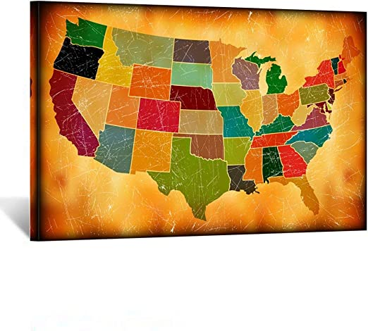united states map painting Amazon Com Iknow Foto Multicolor Grunge Map Canvas Prints Wall